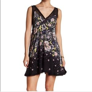Free people summer black floral lace dress NEW XS